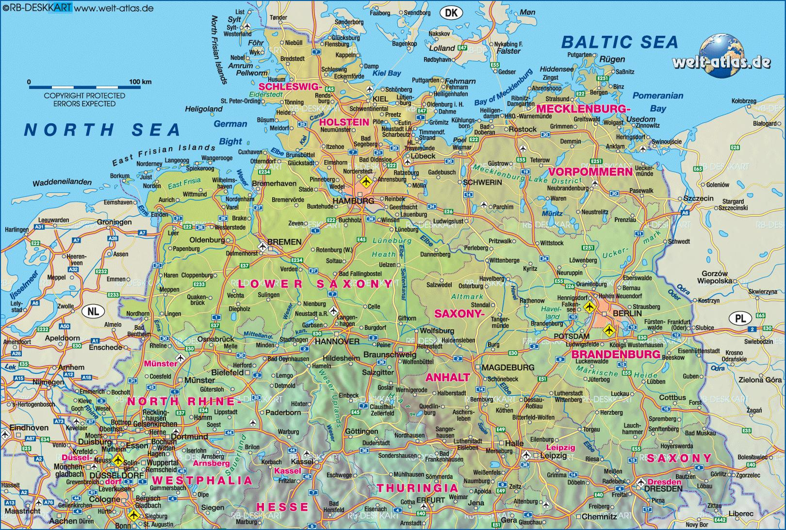 North Germany Map Map Of Germany North Western Europe Europe