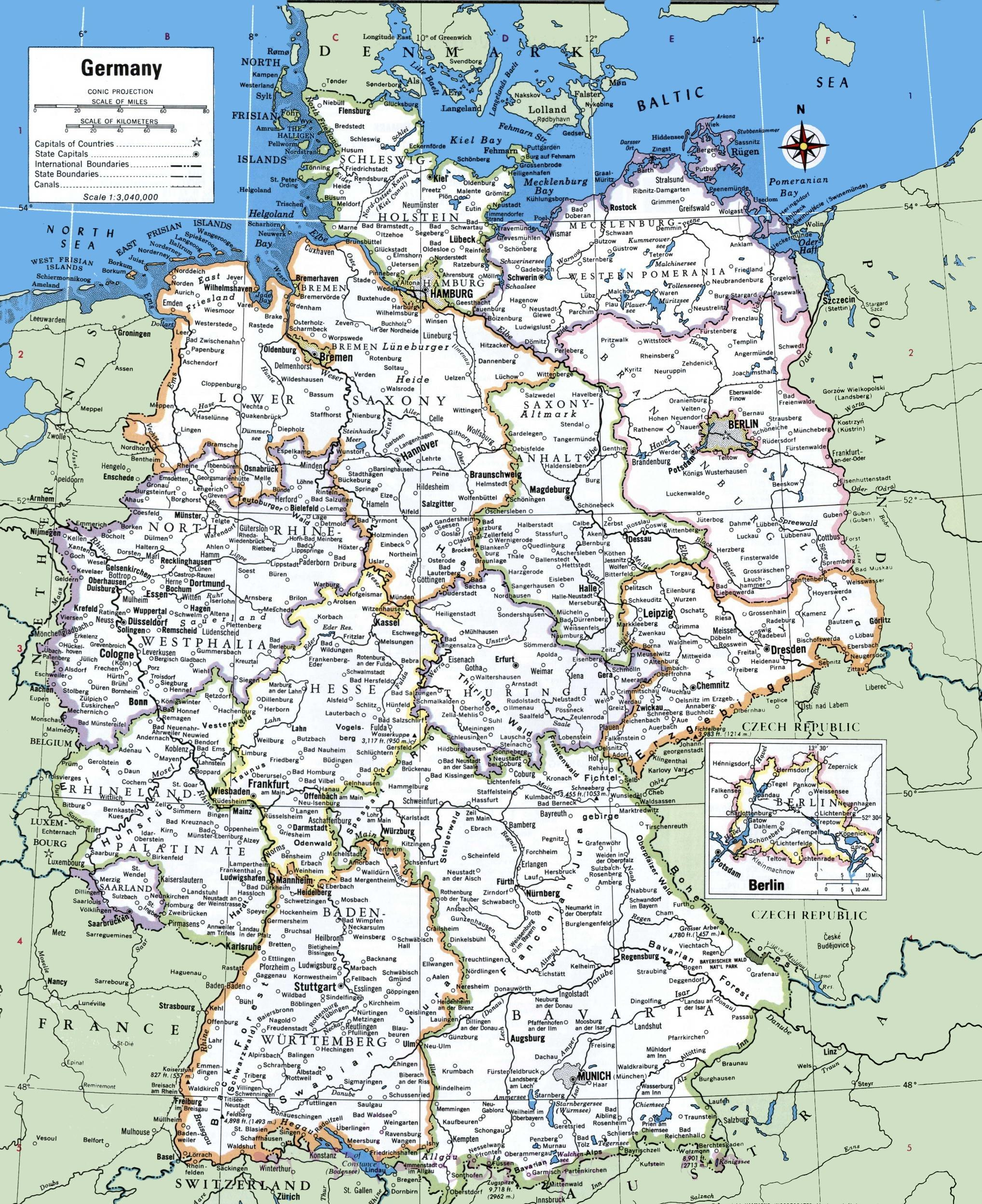 Detailed Map Of Germany With Cities And Towns Printable Map Of