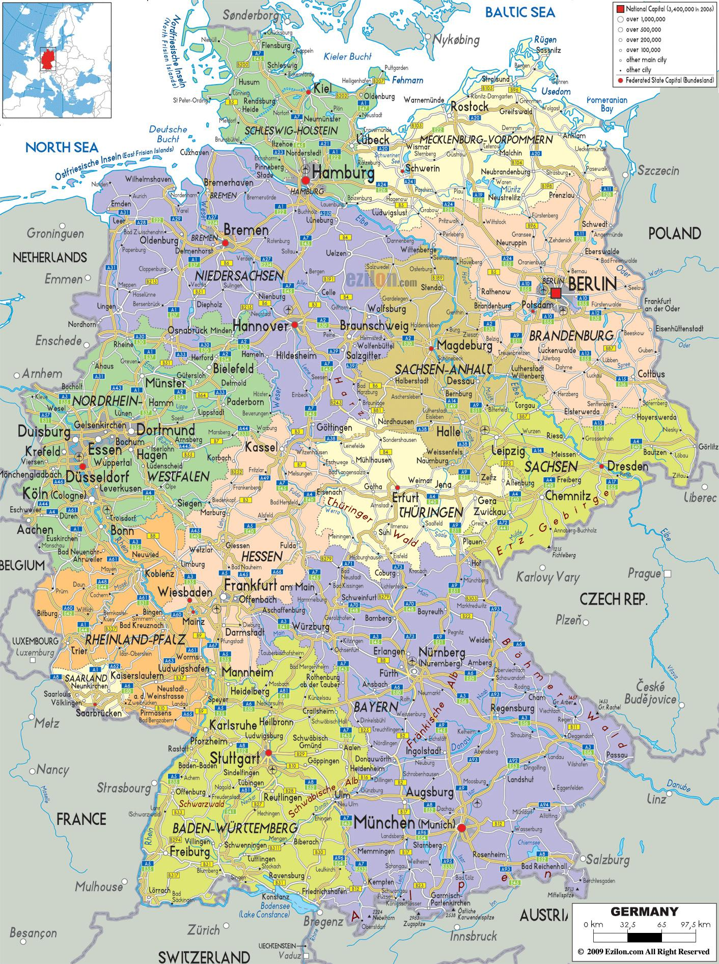 Germany city map - Map cities Germany (Western Europe - Europe)