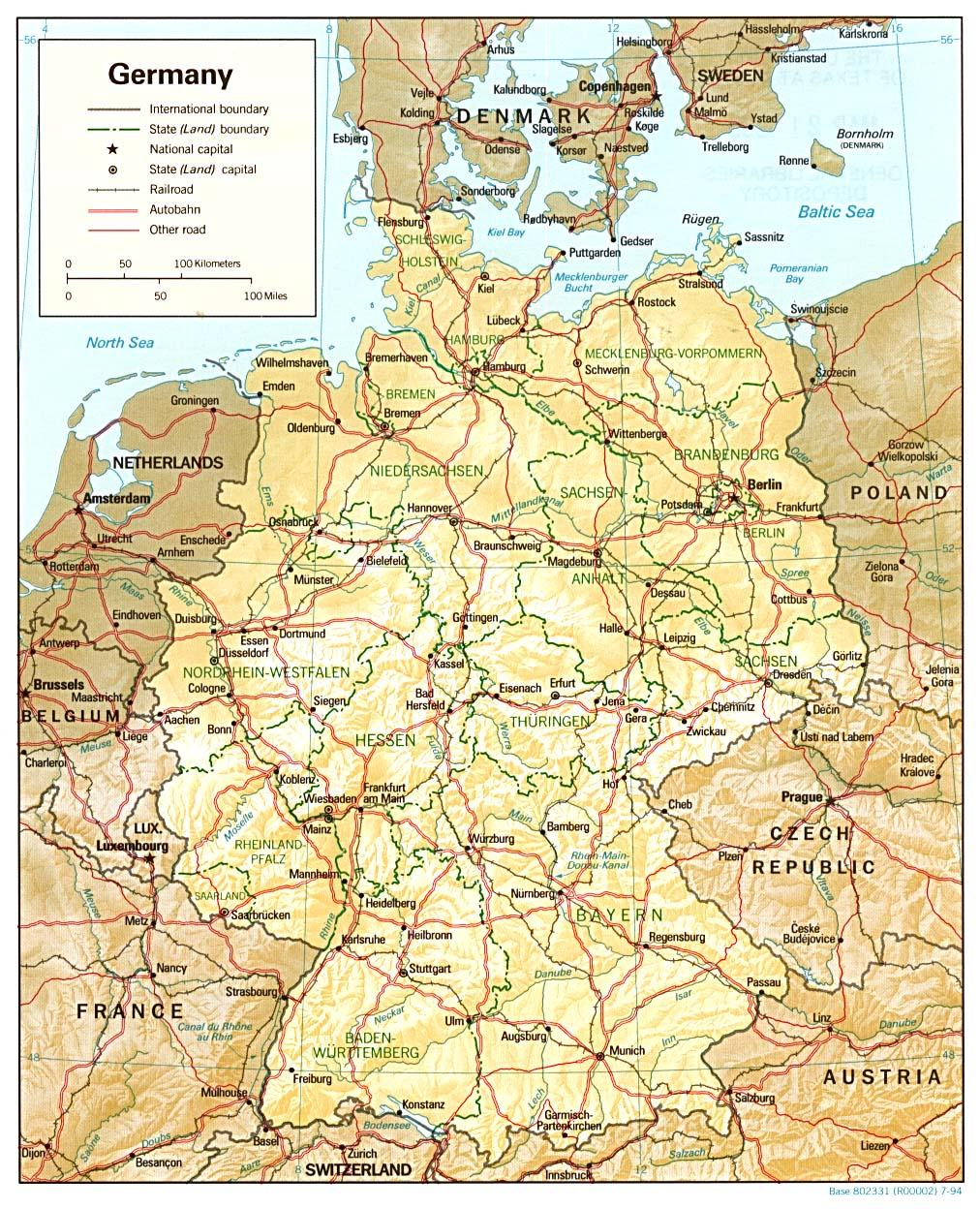 Germany map pdf - Download Germany map (Western Europe - Europe)