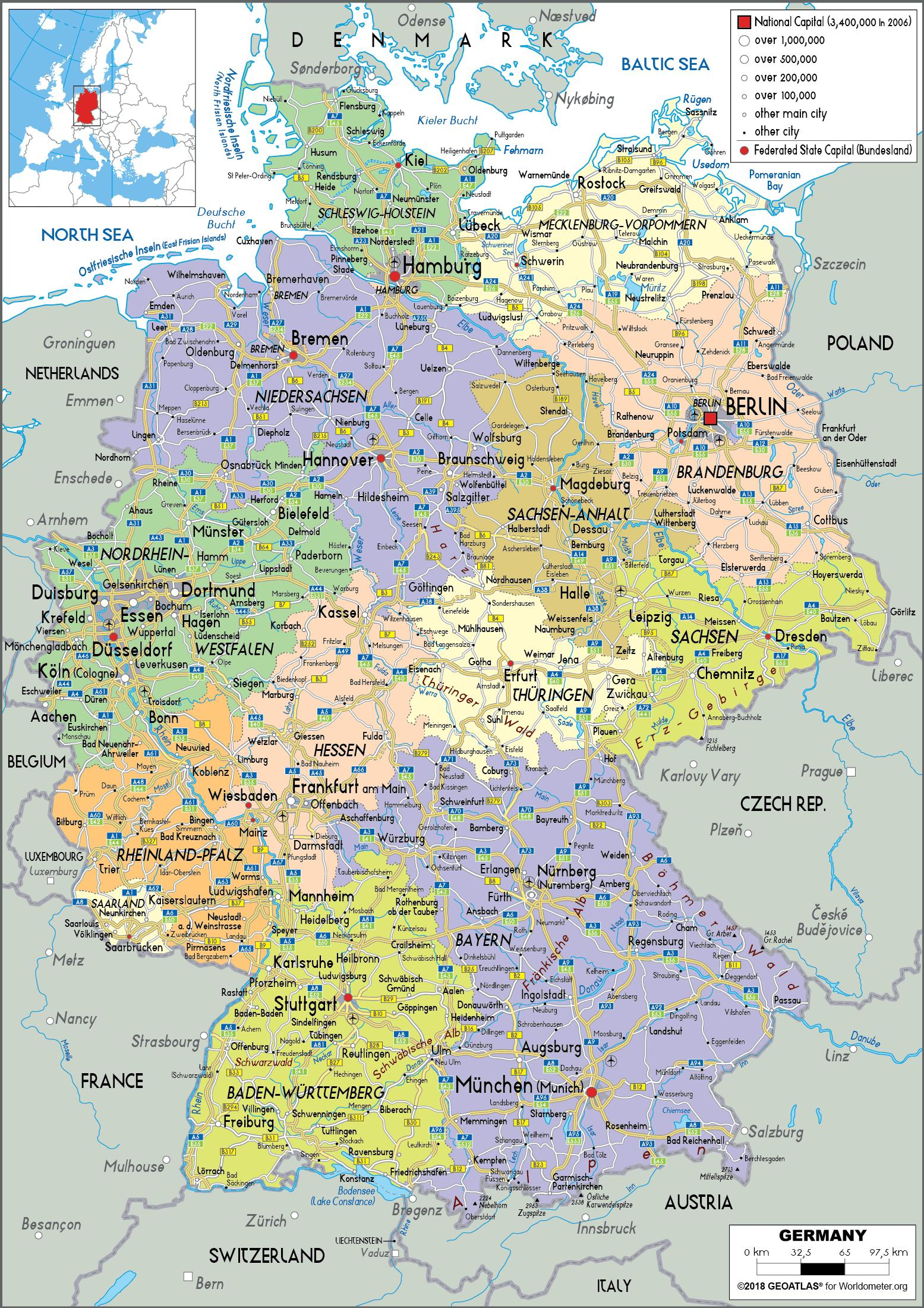 Germany map with cities and states - Map of Germany and ...