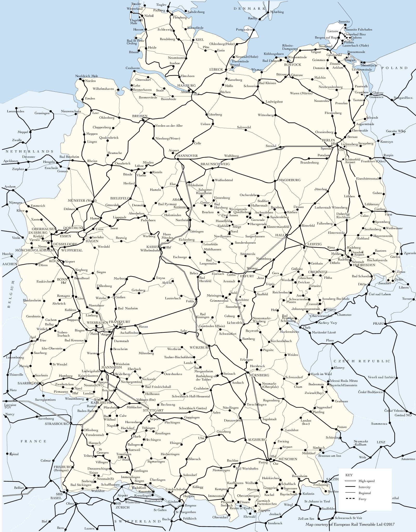 Germany Train Map Map Of Germany Train Routes Western Europe