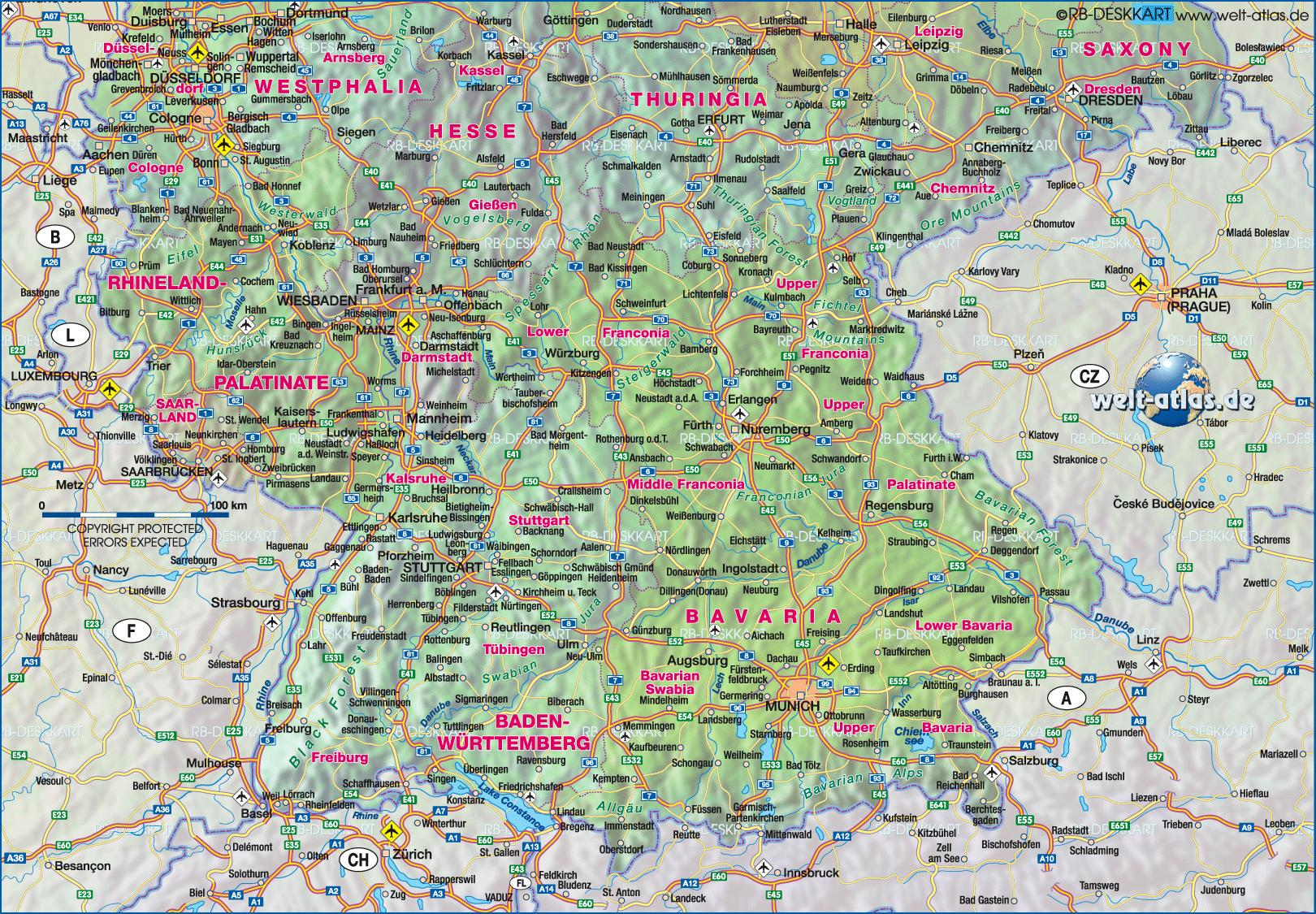 South Germany map - Map of southern Germany (Western Europe ...