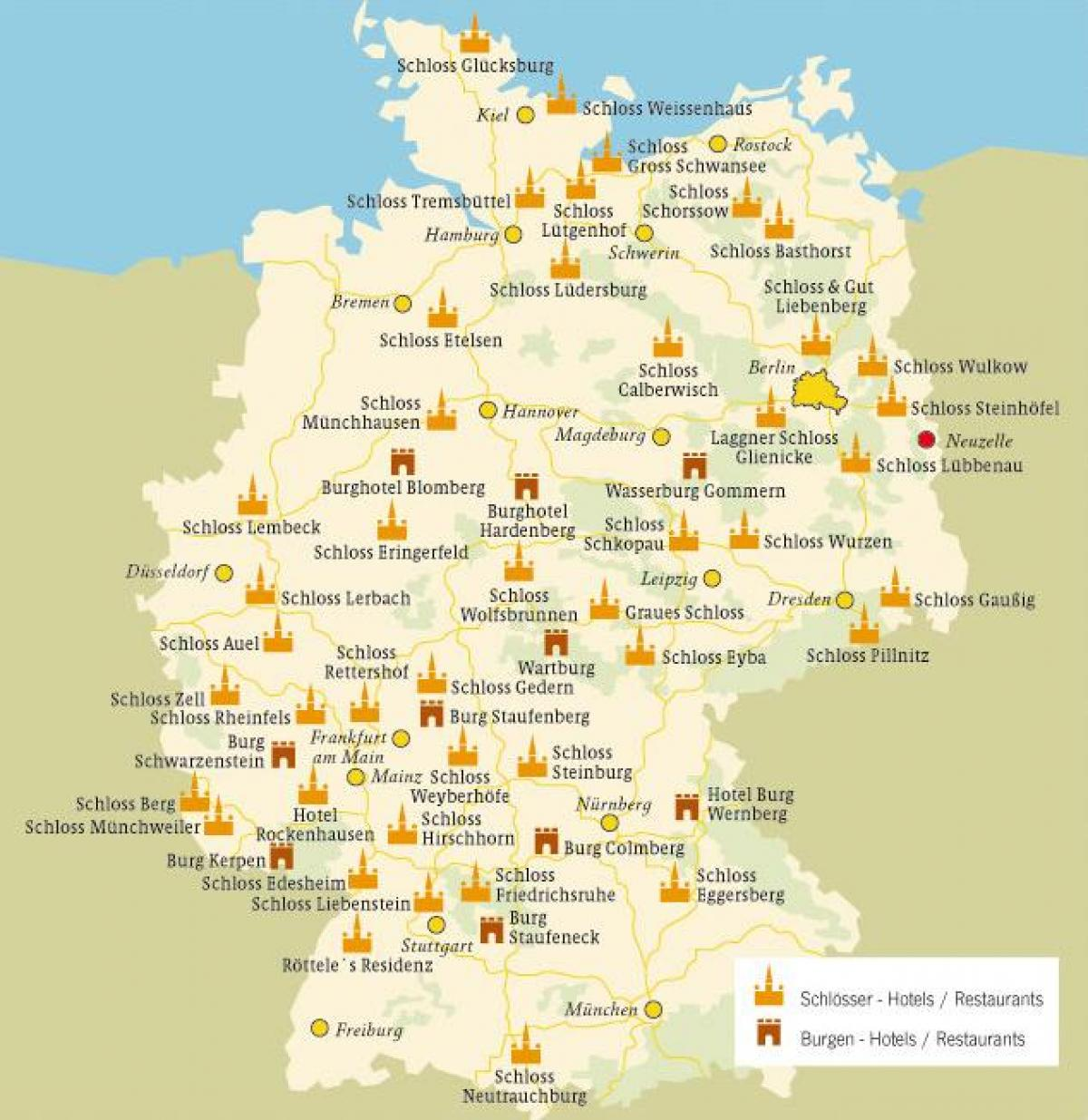 map of Germany castles