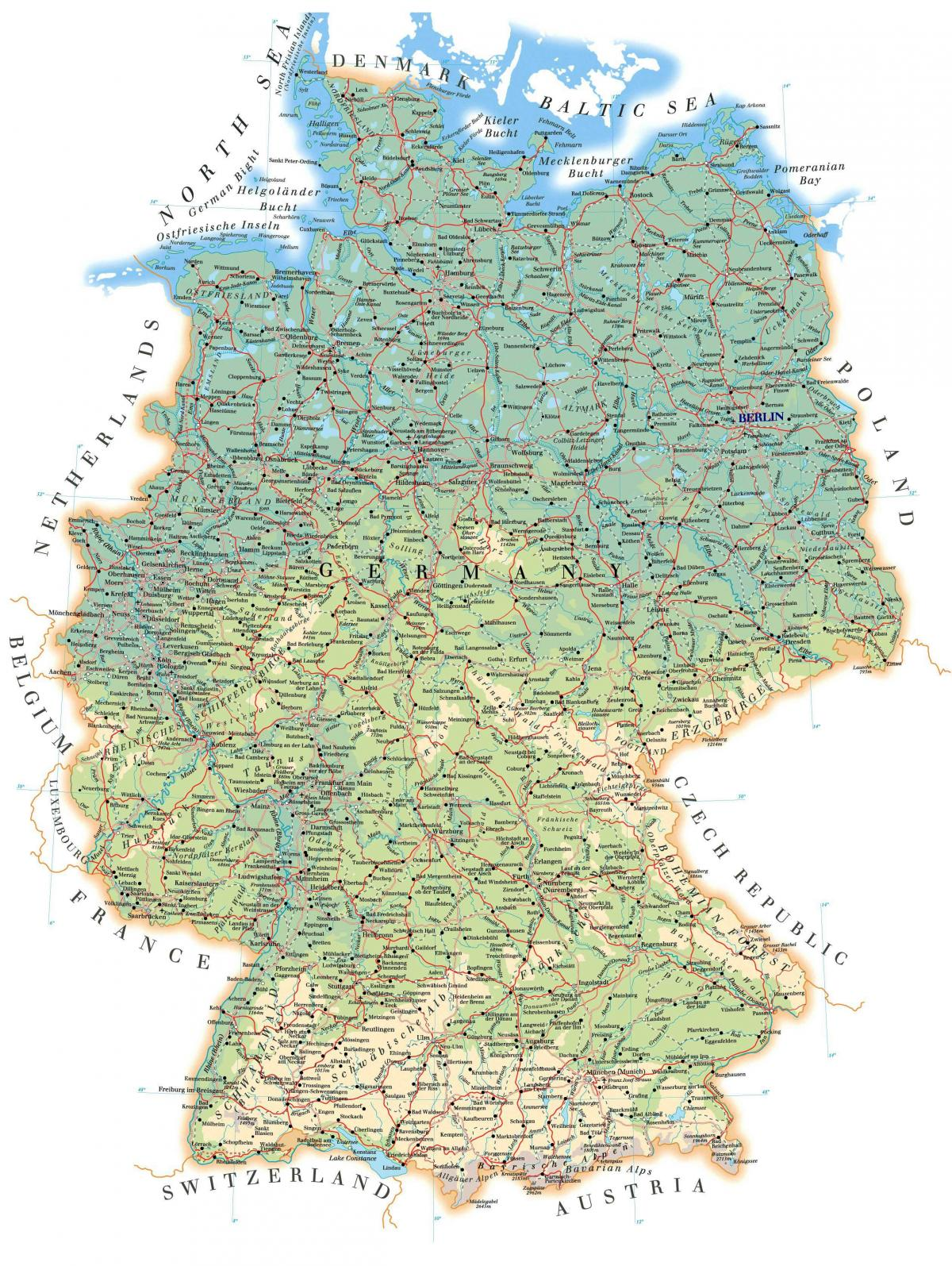 Detailed map of Germany - Labeled map of Germany (Western Europe ...