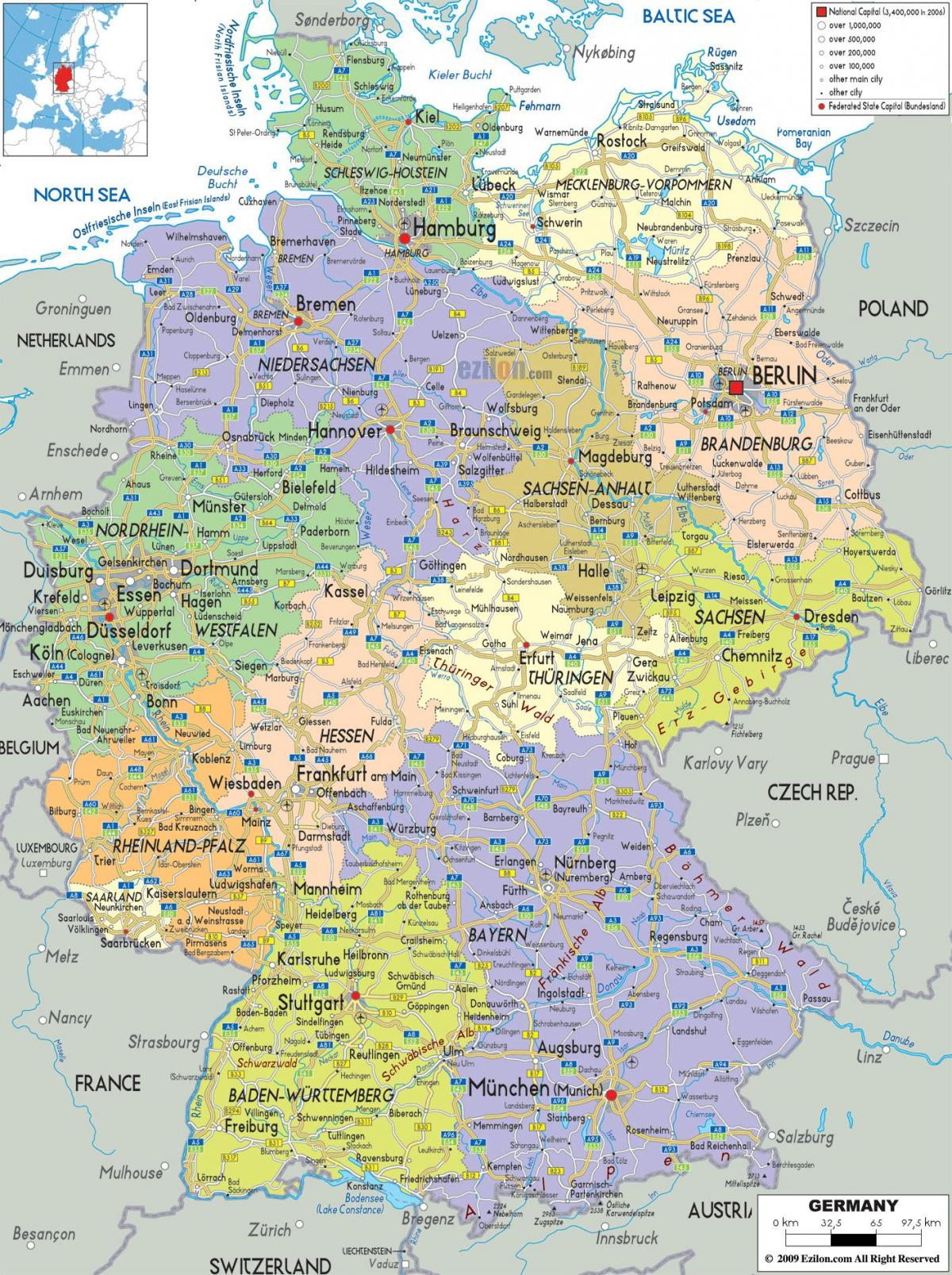 map cities Germany