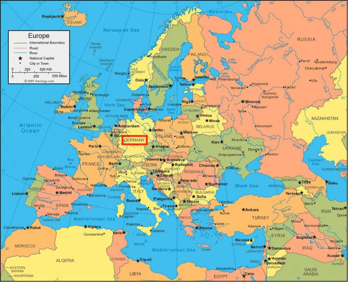 Germany map europe Map of Germany and europe Western Europe