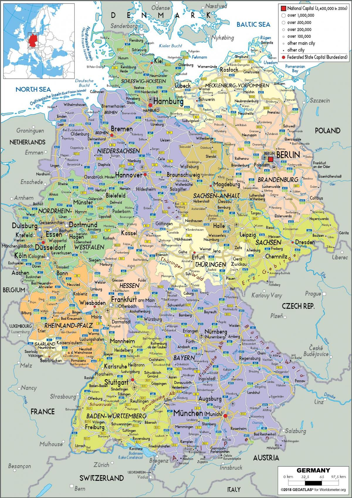 Germany Political Map Map O Germany Political Western Europe
