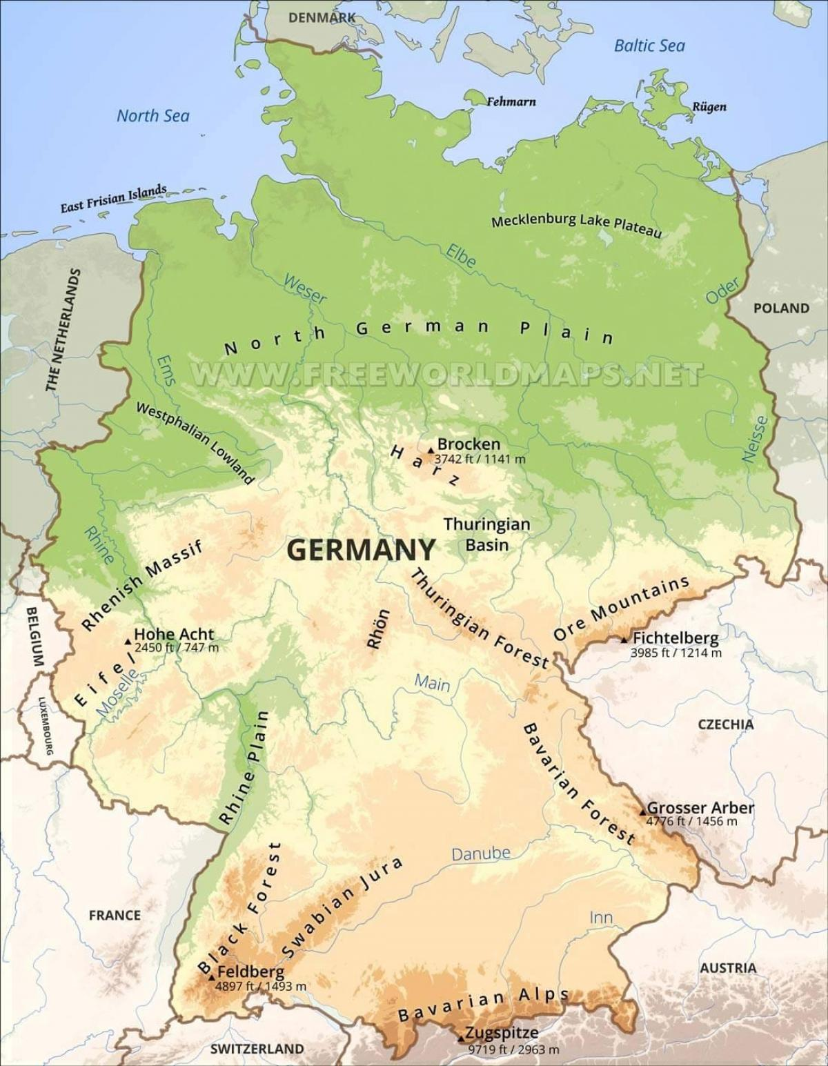 Germany topographic map - Map of Germany topographic (Western Europe ...