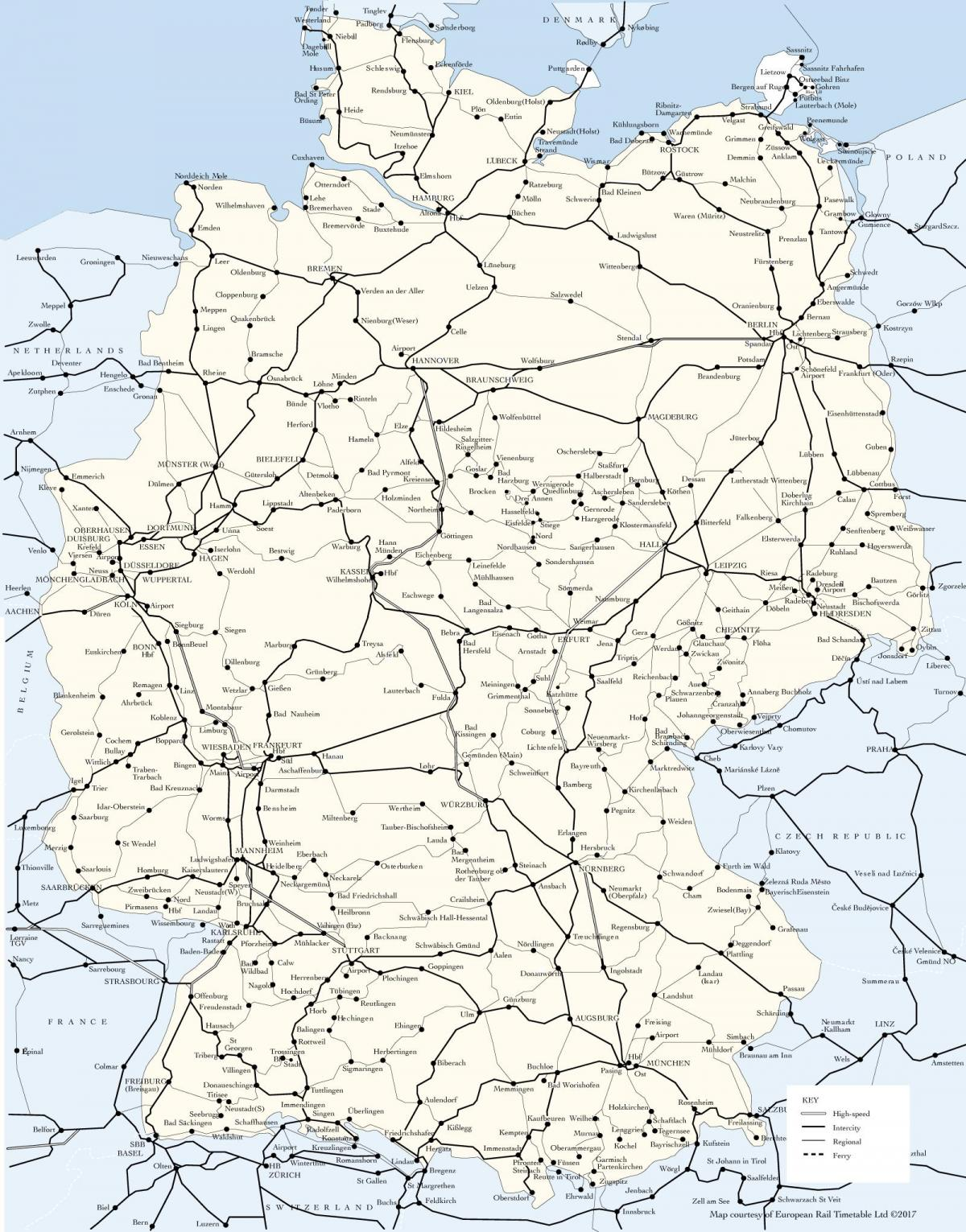 map of Germany train routes