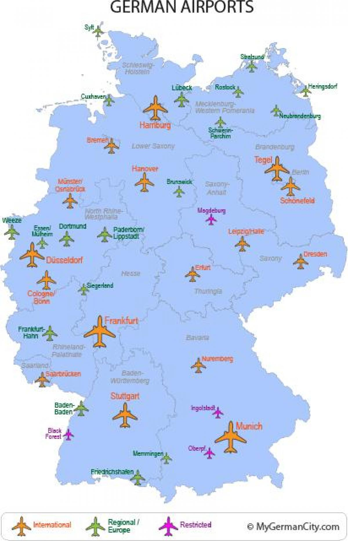 major airports in Germany map