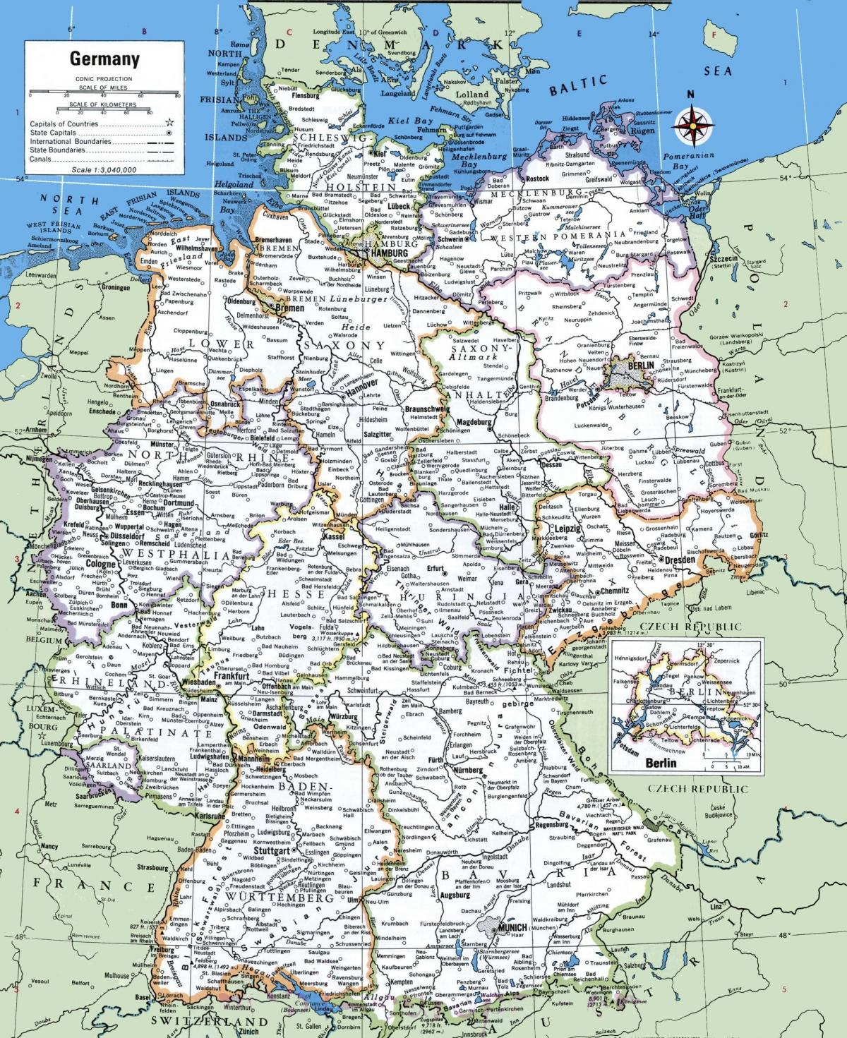 Map of Germany with cities - Germany main cities map ...