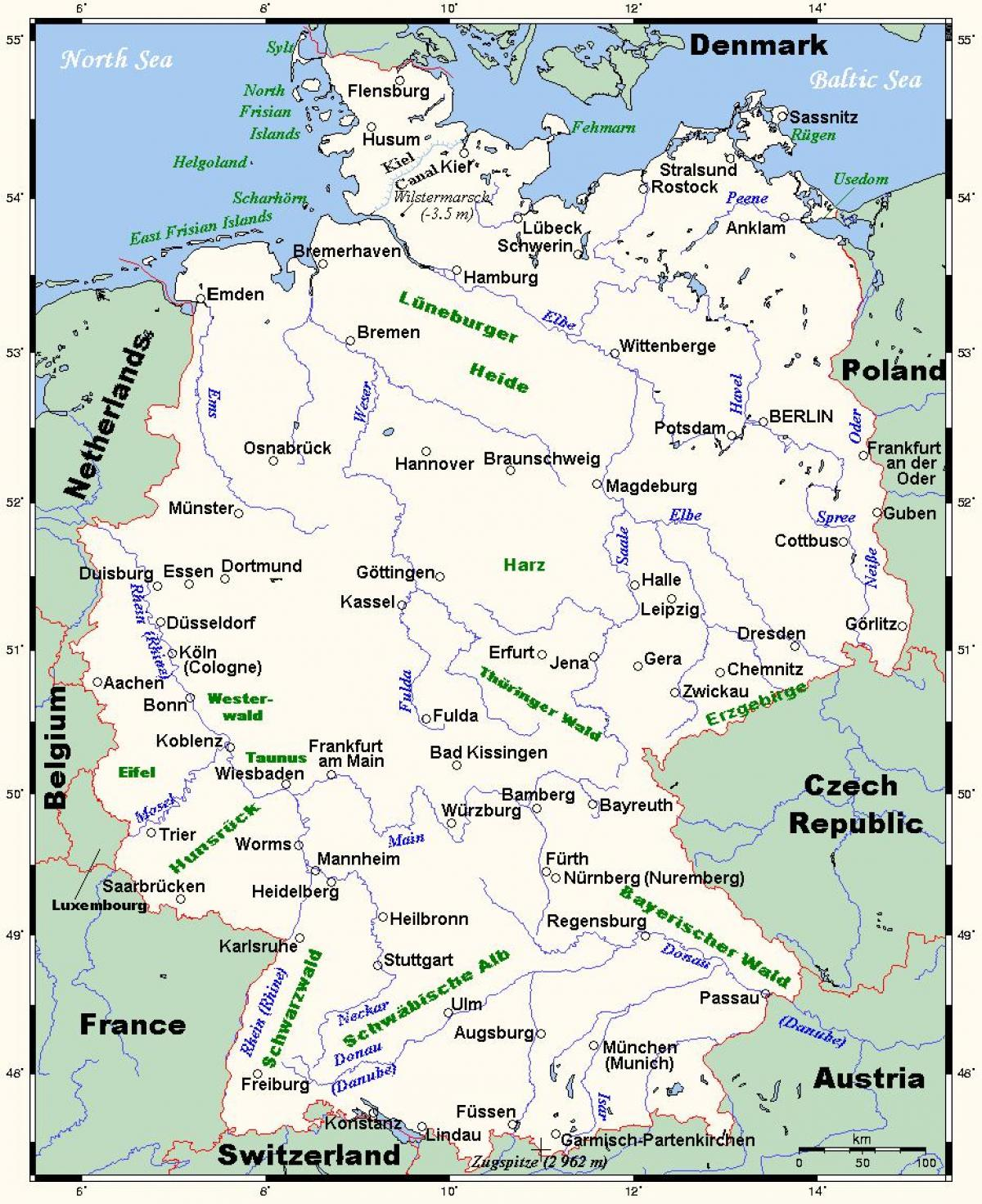 Rivers In Germany Map Map Of Germany Rivers Western Europe Europe
