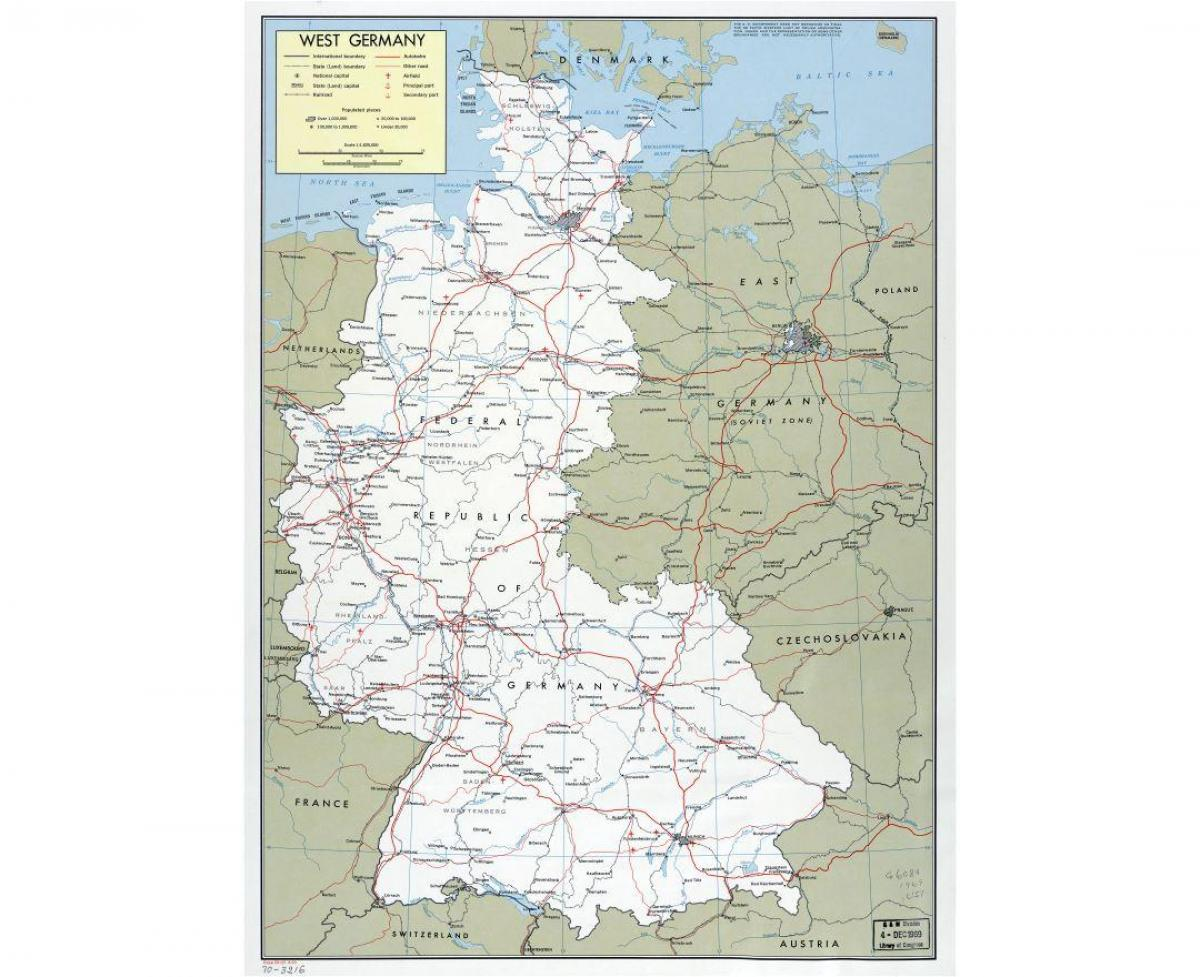 map of west Germany with cities