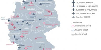 Map of Germany showing airports