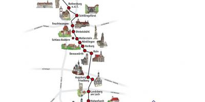 Romantic Road Trip Germany Map Driving Map Of Romantic Road